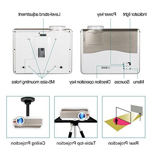 LED Projector HD Home Video HDMI TV Audio Mac Wii PS4