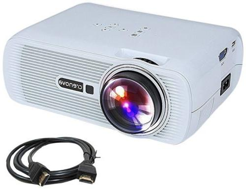 Crenova XPE460 LED Video Home Projector HDMI White NEW in Bo