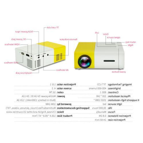 YG300 Mini LED Projector HD 1080P Home USB