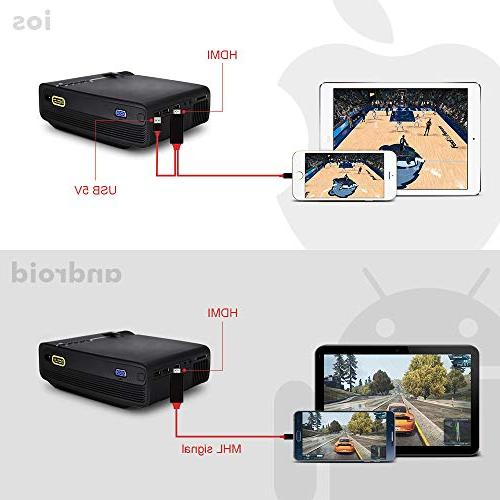 "RAGU Mini Projector, 2019 Upgraded Full 1080P 180"" Supported, 50,000 Hrs Movie Projector for PC/MAC/DVD/TV/Xbox/Movies/Games/Smartphone HDMI/VGA/USB/AV/SD"