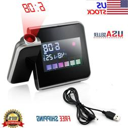 LCD Digital LED Projector Projection Weather Station Calenda