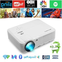 LED HD Smart Android 6.0 Projector Wireless Blue tooth Proye