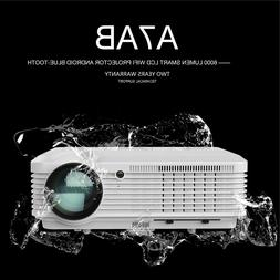 LED HD Smart Projector Android 6.0 Wireless Blue tooth Proye