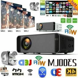 LED Smart Home Theater Projector 4K Wifi BT 1080p FHD 3D Vid