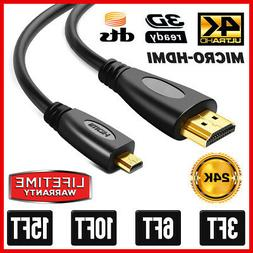 Micro HDMI to HDMI Cable M/M Adapter Monitor Camera Laptop P