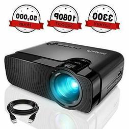 Mini Projector, ELEPHAS 3300 Lumens Portable Home Theater Vi