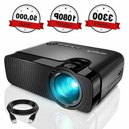 Full HD 1080P Mini Projector LED Multimedia Home Theater USB