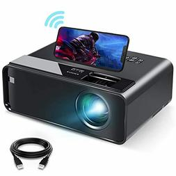 Mini Projector for iPhone, ELEPHAS 2021 Upgrade WiFi Movie P