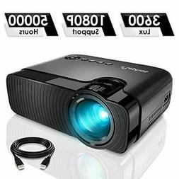 """ELEPHAS Mini Projector, Full HD 1080P and 180"""" Display"""