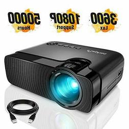 """ELEPHAS Mini Projector, Full HD 1080P and 180"""" Display for U"""