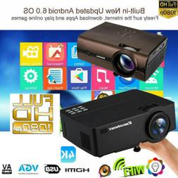 Multimedia 4K 3D WiFi Android 6.0 Wireless LED Projector Hom