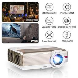 LED Movie Projector HD 1080P 4200 Lumen LCD Indoor Outdoor V