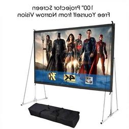 "Portable 100"" 16:9 HD Easy Folding Projector Screen Home Off"