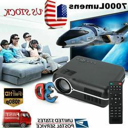 Portable 7000 Lumens HD 1080P 3D Multimedia Projector LED Ho