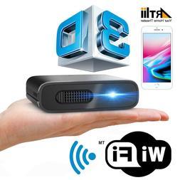 3D Portable DLP Projector WIFI Auto Keystone Correction Ba