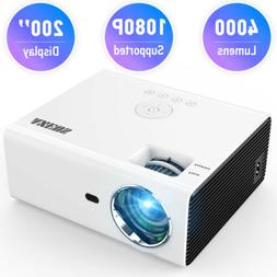 Portable LED Smart Home Theater Projector 4000Lumens 1080p H