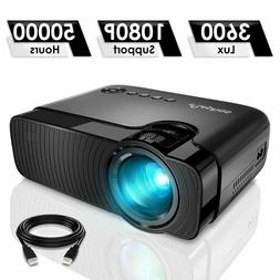 Portable Mini Projector, Full HD 1080P, 50000 hour LED lamp