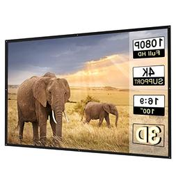 Perlesmith Portable Projector Screen 100 Inch 16:9 Widescree