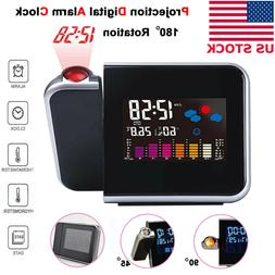 Projection Digital Alarm Time Clock Snooze Weather Thermomet