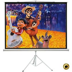 Projection Screen With Stand Pull Up Projector Tripod Portab