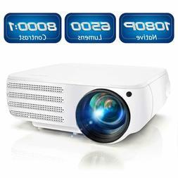 Projector 1080P Native 6500 Lumens HDMI Movie Projector, ±5