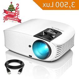 "Projector, ELEPHAS  with 3, 500 LUX 200"" 720P LCD Video Proj"