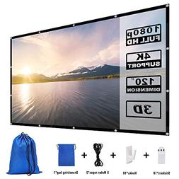 Yome 120 Inch Projector Screen, 16:9 HD Anti-Crease Indoor O
