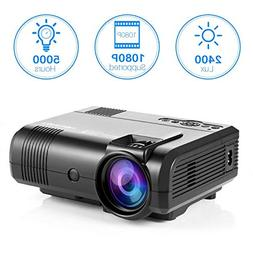 Projector, Tontion 2400 Lux Video Projector supporting 1080P