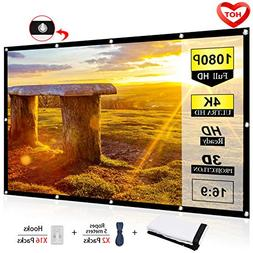 Ylife 100 Inch Projector Screen, 16:9 HD 4K No Crease Portab