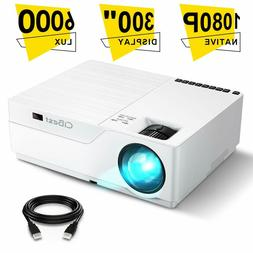 Projector CiBest Native 1080p LED Video Projector 6000 Lux 3