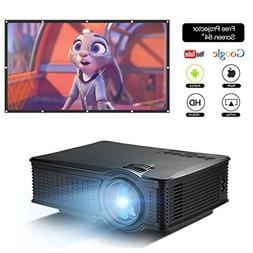 """DOACE P1 HD 1080P Video Projector with Portable Screen 84"""" f"""