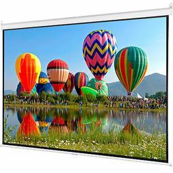 "Projector Screen Manual Pull Diagonal 16:9 Projection HD 80"""