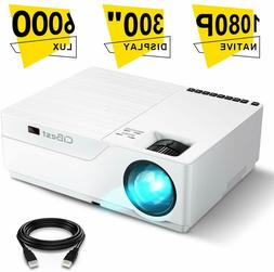 Projector, CiBest Native 1080p LED Video Projector 6000 Lux,