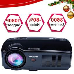"""Projector, WiMiUS 3500 Lumens HD Video Projector with 200"""" P"""