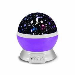 Purple Night Lights for Kids Moon and Cosmos Starlight Proje