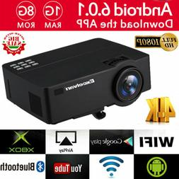 Smart HD 1080P Android 6.0 Projector 4K Wifi Bluetooth Video