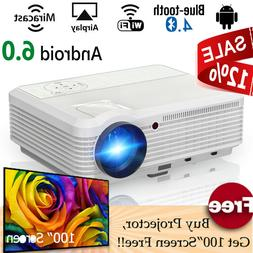 Wireless HD Smart Android 6.0 Projector LED Blue-tooth Proye