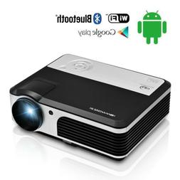 CAIWEI Smart Home Theater Projector with 2*5W Speaker Androi