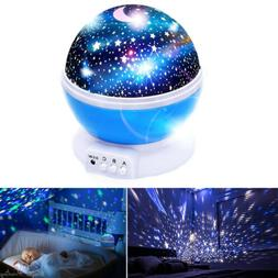 Starry Night Sky Projector Lamp Kids Baby Gift Moon Star Lig