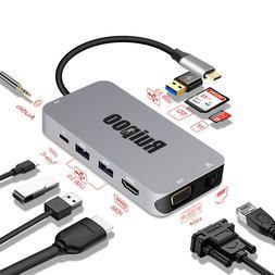 Thunderbolt 3 Dock to HDMI 4K*2K VGA RJ45 TF SD Reader Slot