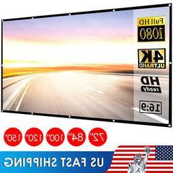 "US 60""-150"" Inch Projector Screen 16:9 HD Anti-Crease Foldab"