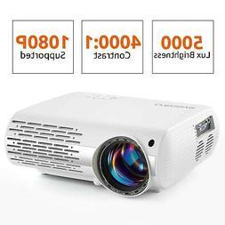 Crenova Video Projector, 5000 Lux Home Movie Projector, 200'